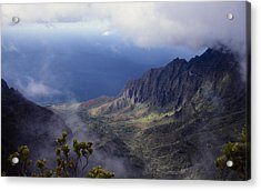 Low Clouds Over A Na Pali Coast Valley Acrylic Print by Stuart Litoff
