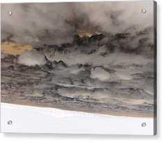 Low Clouds Over Plowed Fields Acrylic Print