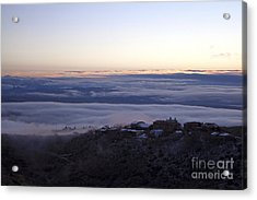 Low Lying Clouds In Waves Before Sunrise Over Jerome Arizona Acrylic Print