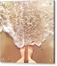 Low Section Of Woman Standing By Surf Acrylic Print by Alexandra Ribeiro / Eyeem