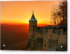 Low Sun On The Fortress Koenigstein Acrylic Print