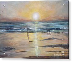 Low Tide Sunset. Southern California  Acrylic Print by Linea App
