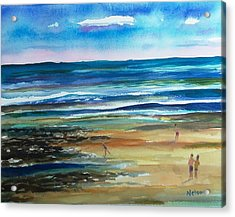 Low Tide Wells Beach Maine Acrylic Print by Scott Nelson