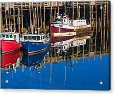 Boats And Reflections At Low Tide On Digby Bay Nova Scotia Acrylic Print