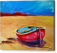 Low Tides - Landscape Of A Red Boat On The Beach Acrylic Print by Patricia Awapara