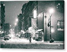 Lower East Side - Winter Night - New York City  Acrylic Print by Vivienne Gucwa