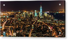 Lower Manhattan At Night 2 Acrylic Print by Chris McKenna