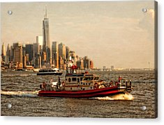 Lower Manhattan New York Acrylic Print by Linda Karlin