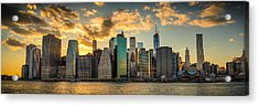 Lower Manhattan Sunset 3-1 Acrylic Print by Chris McKenna