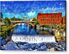 Lower Spokane Falls Acrylic Print by Kaylee Mason