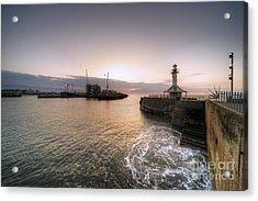 Lowestoft Harbour At Dawn Acrylic Print by Rob Hawkins
