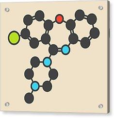 Loxapine Antipsychotic Drug Molecule Acrylic Print by Molekuul