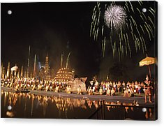Loy Krathong Show In Thailand Acrylic Print by Richard Berry