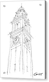 Acrylic Print featuring the drawing Lsu Bell Tower Study by Calvin Durham