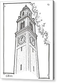 Acrylic Print featuring the drawing Lsu Memorial Bell Tower by Calvin Durham