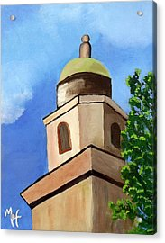 Acrylic Print featuring the painting Lsu Memorial Tower by Margaret Harmon