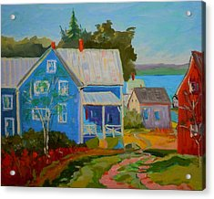 Acrylic Print featuring the painting Lubec Village by Francine Frank