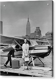 Lucille Cahart With Small Plane In Nyc Acrylic Print by John Rawlings