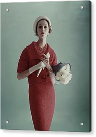 Lucinda Hollingsworth Wearing A Red Suit Acrylic Print by Karen Radkai