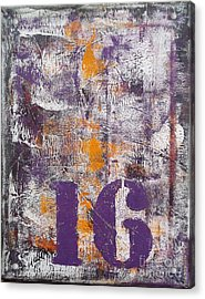 Lucky Number 16 Purple Orange Grey Abstract By Chakramoon Acrylic Print by Belinda Capol