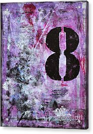 Lucky Number 8 Pink Black White Abstract By Chakramoon Acrylic Print by Belinda Capol
