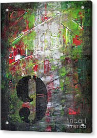 Lucky Number 9 Green Red Grey Black Abstract By Chakramoon Acrylic Print by Belinda Capol