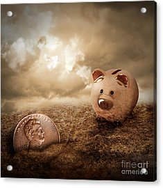 Lucky Piggy Bank Finds Lost Penny In Dirt Acrylic Print by Angela Waye