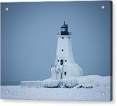 Ludington North Pier Lighthouse In Winter Acrylic Print