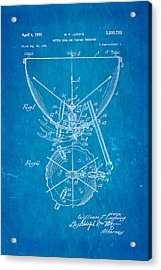 Ludwig Kettle Drum And Timpani Patent Art 1950 Blueprint Acrylic Print by Ian Monk