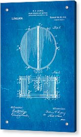 Ludwig Snare Drum Patent Art 1912 Blueprint Acrylic Print by Ian Monk