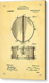 Ludwig Snare Drum Patent Art 1912 Acrylic Print by Ian Monk
