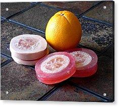 Luffa Red And Pink Soap Acrylic Print by Anastasiya Malakhova