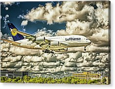 Lost In The Clouds Lufthansa A380 Named Hamburg-colorized Abstract Acrylic Print