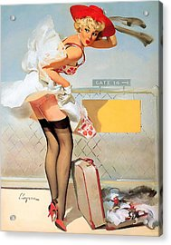 Luggage Accident Pin-up Girl Acrylic Print by Gil Elvgren