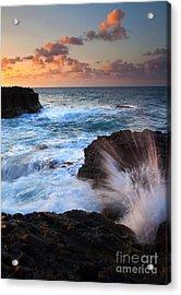 Lumahai Sea Explosion Acrylic Print by Mike  Dawson