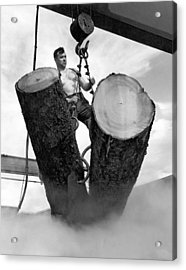 Lumber Mill Worker Acrylic Print by Underwood Archives