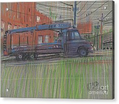 Acrylic Print featuring the painting Lumber Truck by Donald Maier