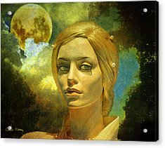 Acrylic Print featuring the mixed media Luna In The Garden Of Evil by Chuck Staley