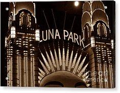 Luna Park Sydney - Sepia Acrylic Print by Cheryl Boutwell