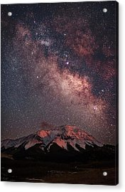 Lunar Alpenglow And Milky Way Skies At Acrylic Print
