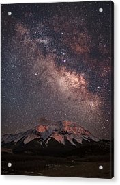 Lunar Alpenglow And Milky Way Skies At West Spanish Peak Acrylic Print by Mike Berenson