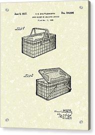 Lunch Basket 1937 Patent Art Acrylic Print