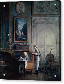 Lunch Of Madame Geoffrin Oil On Canvas Acrylic Print by Hubert Robert
