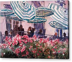 Lunch Under Umbrellas Acrylic Print by Kris Parins