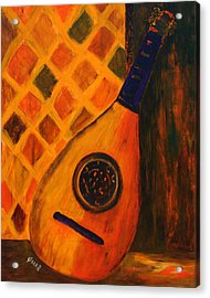 Lute By The Window  Acrylic Print by Oscar Penalber