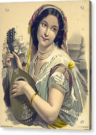 Lute Player 1850 Acrylic Print by Padre Art