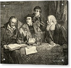 Luther Melancthon Pomeranus And Cruciger Translating  Acrylic Print by English School