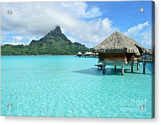 Luxury Overwater Vacation Resort On Bora Bora Island Acrylic Print