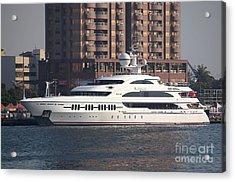 Luxury Yacht Visits Kaohsiung Port Acrylic Print by Yali Shi