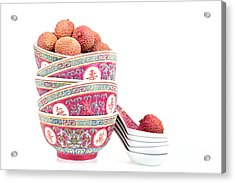 Lychees In Bowls With Spoons Acrylic Print by Jane Rix